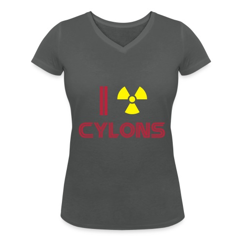 Nuke Cylons, Racetrack's logo back - Women's Organic V-Neck T-Shirt by Stanley & Stella