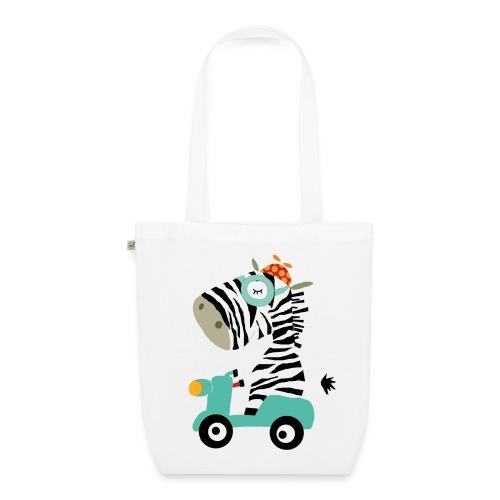 Zebra fährt Roller - organic pink! - Bio-Stoffbeutel