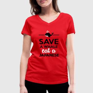 Salle à manger  - Save a Whale eat a Japanese Tee shirts - T-shirt col V Femme
