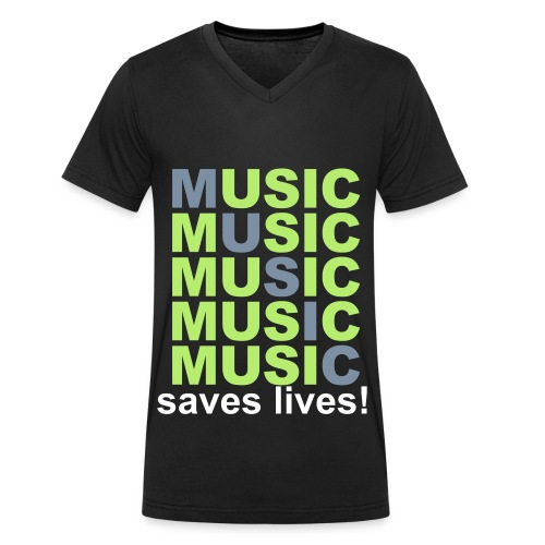 MUSIC SAVES LIVES Men's V-Neck Tee - Men's Organic V-Neck T-Shirt by Stanley & Stella