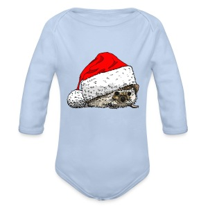 Cute Christmas Hedgehog Creeper - Organic Longsleeve Baby Bodysuit