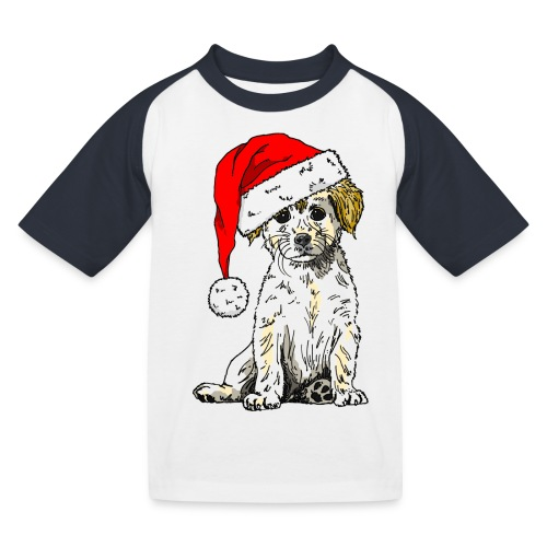 Christmas Doggy Baseball Tee - Kids' Baseball T-Shirt