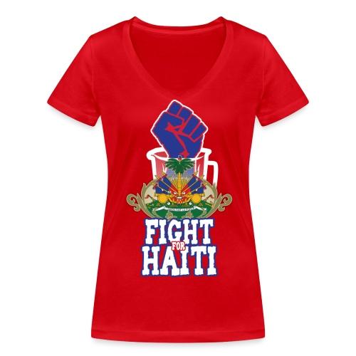 Fight For Haiti donna - T-shirt ecologica da donna con scollo a V di Stanley & Stella