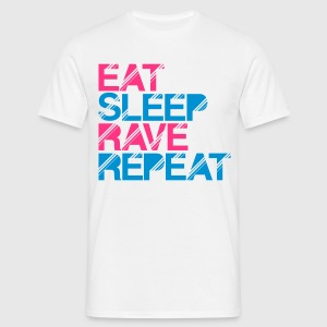 Eat Sleep Rave Repeat White T-Shirt - Men's T-Shirt