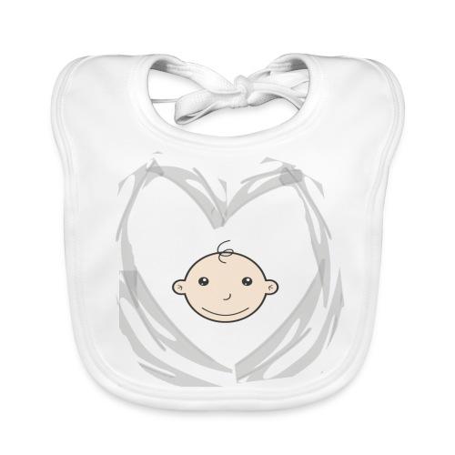 Hart en babyhoofdje - Bio-slabbetje voor baby's