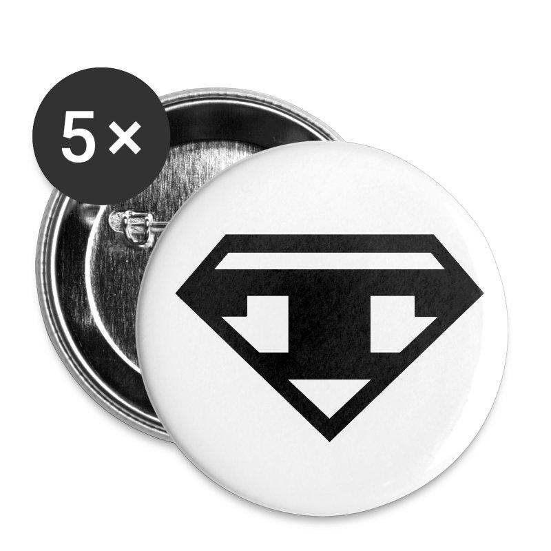 Twanneman Buttons 25mm-  5pack - Black T - Buttons small 25 mm