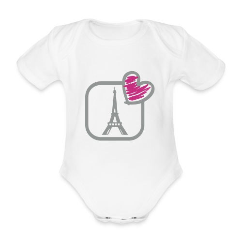 Torre eiffel - Body orgánico de maga corta para bebé