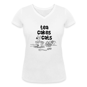 Tea cakes and cats - T-shirt col V Femme