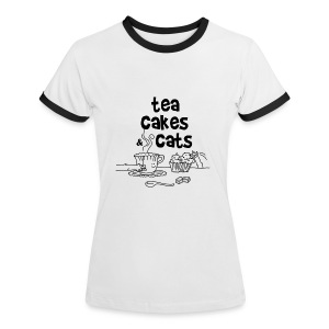 Tea cakes and cats - T-shirt contraste Femme