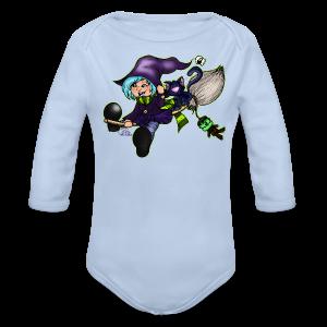 BabyShirt Besenfliegerin, die fliegende Hexe - Baby Bio-Langarm-Body