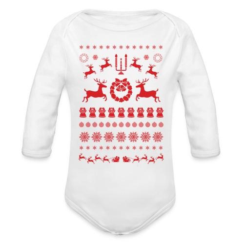 Retro Ugly Christmas - Baby bio-rompertje met lange mouwen