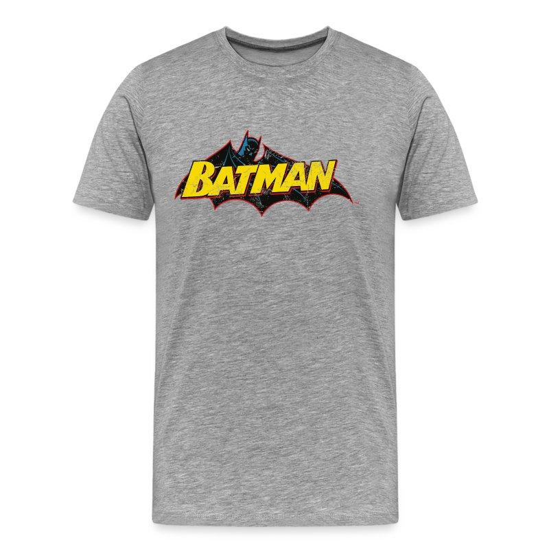 tee shirt batman criture jaune tee shirt pour hommes spreadshirt. Black Bedroom Furniture Sets. Home Design Ideas
