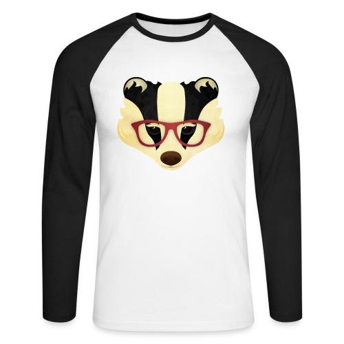 Hipster Badger - Men's Long Sleeve Baseball T-Shirt