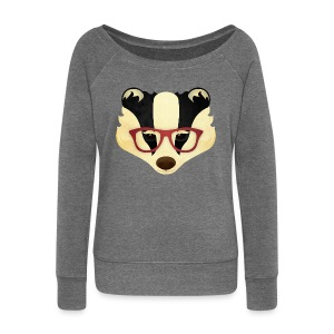 Hipster Badger - Women's Boat Neck Long Sleeve Top