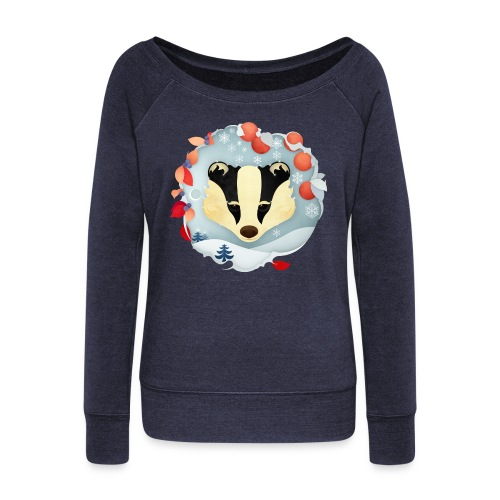Badger Winter Wonderland - Women's Boat Neck Long Sleeve Top