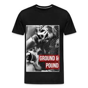 Men's Premium T-Shirt - Iconic image straight from the Little Red Creative Archive of Ground and Pound in full effect on a Mens MMA Fashion Tshirt