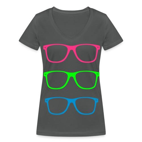 Camiseta mujer gafas - Camiseta ecológica mujer con cuello de pico de Stanley & Stella