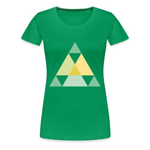 Motif triangles vert et jaune - T-shirt Premium Femme