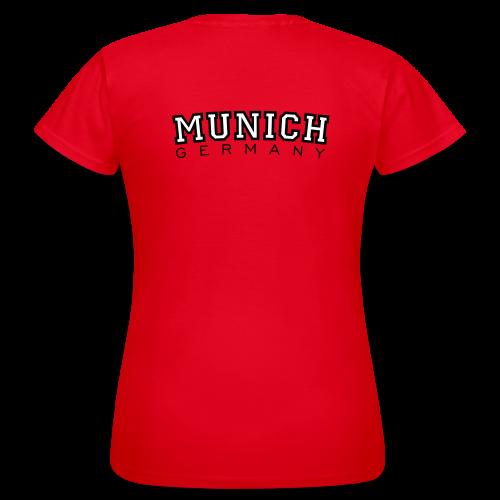 Munich Germany München T-Shirt (Damen Rot) Rücken - Frauen T-Shirt
