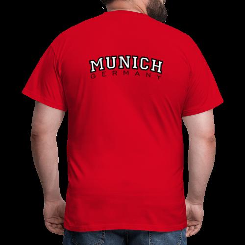 Munich Germany München T-Shirt (Herren Rot) Rücken - Männer T-Shirt