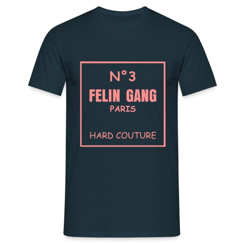 T-SHIRT FELIN GANG HARD COUTURE MARINE - T-shirt Homme