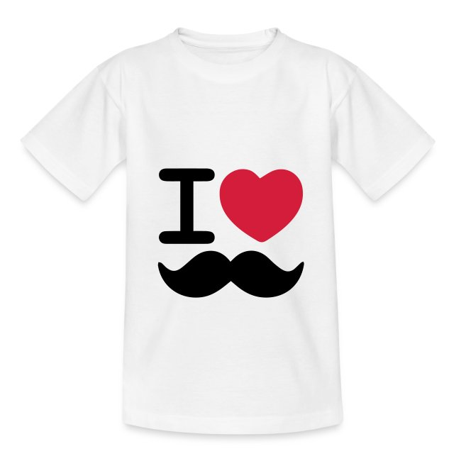 I Love Moustaches - Teenager tshirt for Movember
