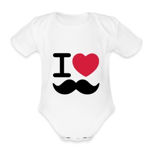 I Love Moustaches - Baby tshirt for Movember - Organic Short-sleeved Baby Bodysuit
