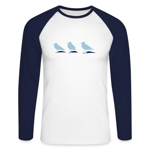 tier t-shirt möwe möwen sea gull seagull hafen beach harbour - Männer Baseballshirt langarm
