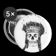 Przypinki ~ Przypinka średnia 32 mm ~ skull indian headdress - czaszka