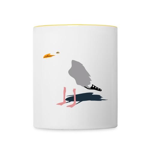 tier t-shirt möwe möwen sea gull seagull hafen beach harbour - Tasse zweifarbig
