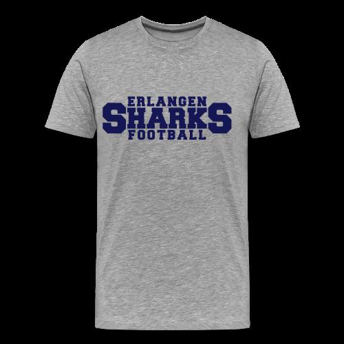 Old School Football Premium T-Shirt (m, grau/navy/rot) - Männer Premium T-Shirt