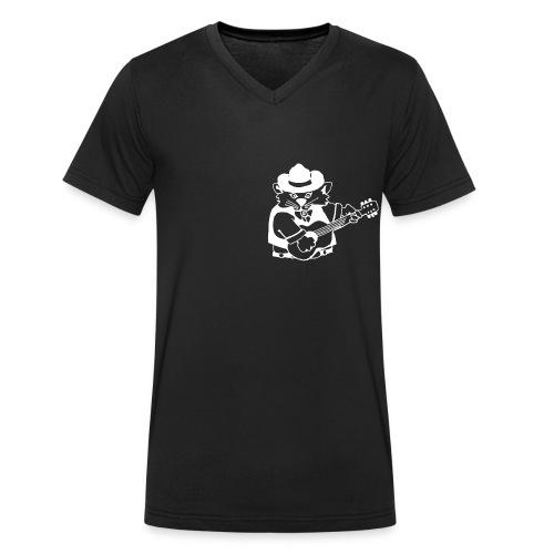 Cat Hill Männer-T-Shirt mit Blueskatze (schwarz) - Männer Bio-T-Shirt mit V-Ausschnitt von Stanley & Stella