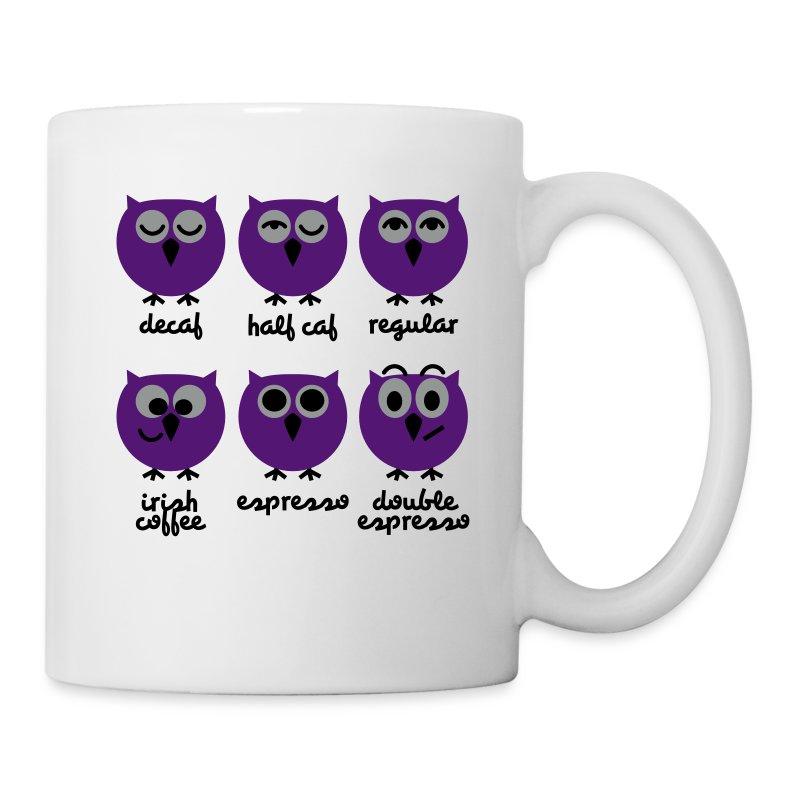 lustige eulen mit kaffee chart t shirts druck tasse spreadshirt. Black Bedroom Furniture Sets. Home Design Ideas