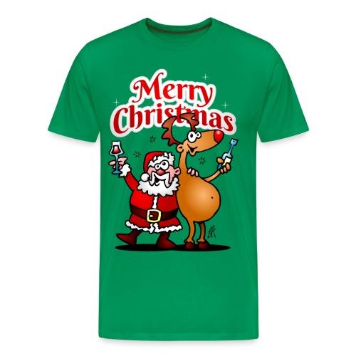 Merry Christmas - Santa Claus and his Reindeer - Men's Premium T-Shirt