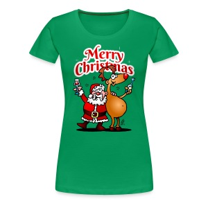 Merry Christmas - Santa Claus and his Reindeer - Women's Premium T-Shirt