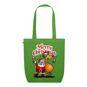 Merry Christmas - Santa Claus and his Reindeer - EarthPositive Tote Bag