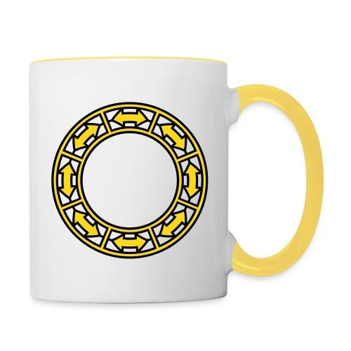 Tasse mit Doppel-Pfeilen im Ring - Tasse zweifarbig