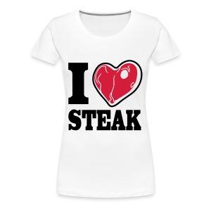 I LOVE STEAK red meat (bis 3XL) - Frauen Premium T-Shirt
