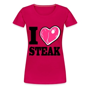 I LOVE STEAK pink meat (bis 3XL) - Frauen Premium T-Shirt