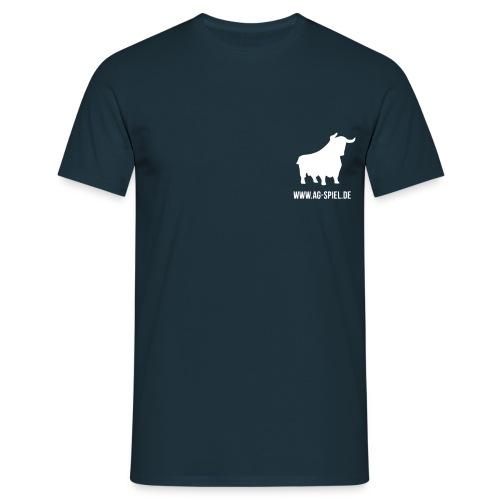 Shirt weißer Flock nur Brust mit URL - Männer T-Shirt