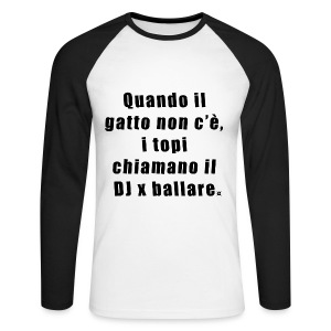 Gatto LS Man Black EN - Men's Long Sleeve Baseball T-Shirt
