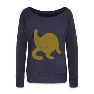Hoodies & Sweatshirts ~ Women's Boat Neck Long Sleeve Top ~ Bathing Kitty - Gold
