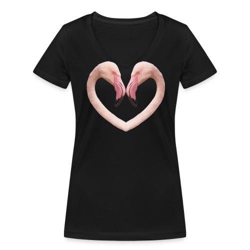 Flamingo-Herz, Damen-Shirt, schwarz - Frauen Bio-T-Shirt mit V-Ausschnitt von Stanley & Stella