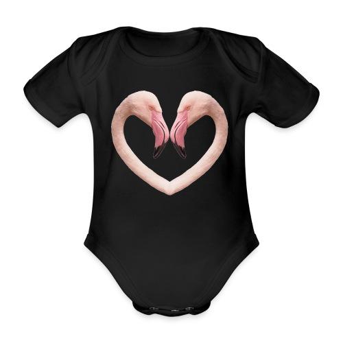 Flamingo-Herz, Baby-Body, shwarz - Baby Bio-Kurzarm-Body