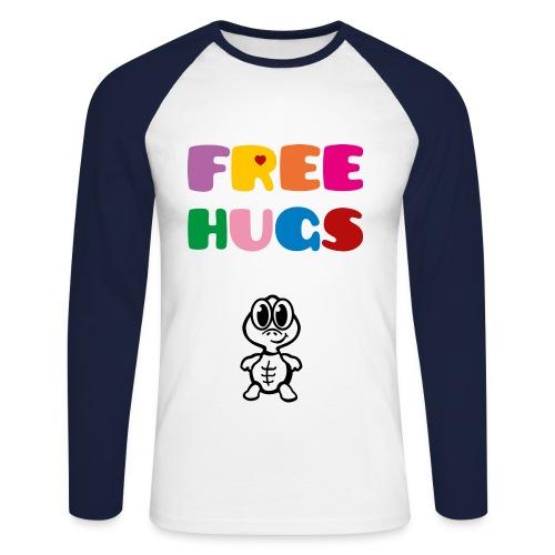 free hugs turtle - Mannen baseballshirt lange mouw