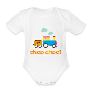 Choo Choo Train Baby Onesie - Organic Short-sleeved Baby Bodysuit