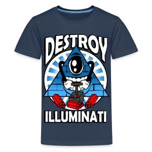 Destroy The Illuminati - Anti New World Order - Teenage Premium T-Shirt