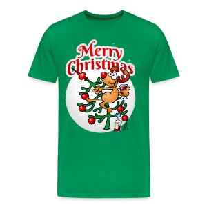Reindeer in a Christmas tree - Merry Christmas - Men's Premium T-Shirt