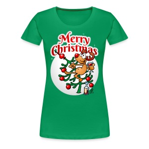 Een rendier in een Kerstboom - Merry Christmas Shirts - Vrouwen Premium T-shirt