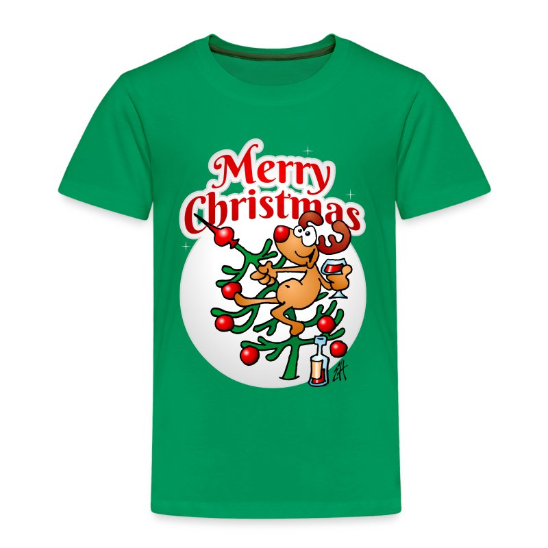 Een rendier in een Kerstboom - Merry Christmas Shirts - Kinderen Premium T-shirt